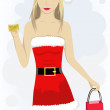 Girl with credit card in santa cap — Stockvectorbeeld
