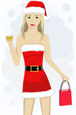 Girl with credit card in santa cap — Vector de stock