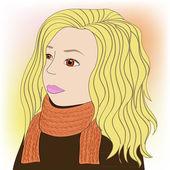 Girl in scarf — Stock Vector