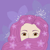 Girl with pink hair — Stock Vector