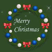 Christmas wreath with blue and silver balls — Vecteur