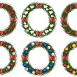 Set of christmas wreathes — Stockvektor