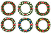 Set of christmas wreathes — Stock Vector
