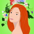 Stock Vector: Redhair girl with flowers on green