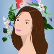 Stock Vector: Brunette with flowers on blue