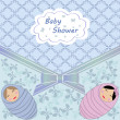 Baby shower blue twin — Stock vektor