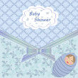 Baby shower blue boy — Stock Vector
