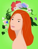Redhair girl with flowers on green — Stock Vector