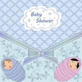Baby shower blue twin — Stock Vector