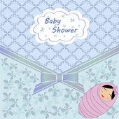Baby shower blue girl — Stock Vector
