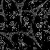 Grunge negro transparente con torre eiffel — Vector de stock