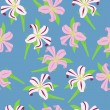 Seamless pattern with lilies — Imagen vectorial
