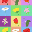 Seamless pattern with cartoon flowers — 图库矢量图片 #15623741