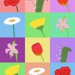 karikatür çiçekler ile Seamless Modeli — Stok Vektör