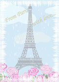 Grunge Eiffel tower with roses — Stock Vector