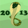 Background with green cobra — Stockvektor