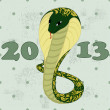 Green snake with floral pattern — Stockvectorbeeld