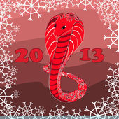 Red snake with floral pattern with snow — Vector de stock
