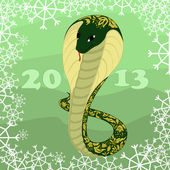 Green snake with floral pattern with snow — Stok Vektör