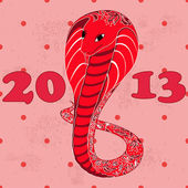 Red snake with floral pattern grunge — Vector de stock