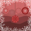 Red background with christmas toys — Stock vektor