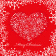 Red christmas background with heart — Stock Vector