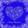 Blue christmas background with heart — Stock Vector