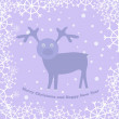 Christmas card with deer — Vector de stock #16334395