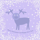 Christmas card with deer — Stok Vektör