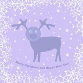 Noel kartı ile geyik — Stok Vektör