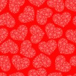 Red seamless pattern with hearts — Stok Vektör