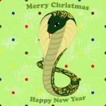 grön orm med blommönster — Stockvektor