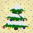 Stock Vector: Christmas tree on colorful polka dot