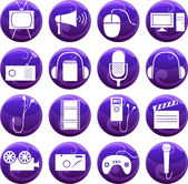 Media icons on buttons — Stock Vector