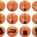 rengöring ikoner på knappar — Stockvektor