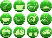 Iconos de comida en los botones — Vector de stock