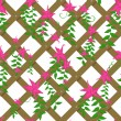 Wicker with pink flowers — Imagen vectorial