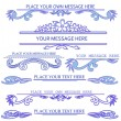 Set of blue calligraphic design elements — Stockvectorbeeld