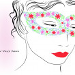 Woman in colorful mask — Imagen vectorial