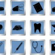 Royalty-Free Stock Vector Image: Medical icons on square buttons