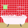Red bathroom — Vector de stock #18555743