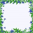 Frame with blue flowers — Stockvectorbeeld