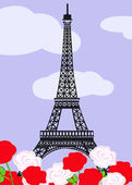 Eiffel tower with red and white roses — Vector de stock