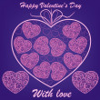 Stock vektor: Pink hearts on blue background