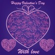 Pink hearts with flowers on blue background — Stock vektor
