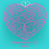 Pink heart on blue background — Stock Vector