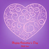 Pink heart on lilac background — Stock Vector
