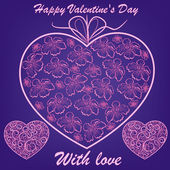 Pink hearts with flowers on blue background — Stock Vector