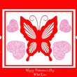 Stock Vector: Red card with butterfly