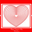 Stock Vector: Red card with many hearts
